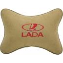 Подушка на подголовник алькантара Beige (красная) LADA