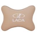 Подушка на подголовник экокожа Beige (белая) LADA