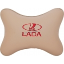 Подушка на подголовник экокожа Beige (красная) LADA