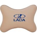 Подушка на подголовник экокожа Beige (синяя) LADA