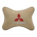 Подушка на подголовник алькантара Beige MITSUBISHI