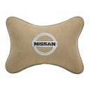 Подушка на подголовник алькантара Beige NISSAN