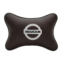 Подушка на подголовник экокожа Coffee NISSAN