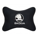 Подушка на подголовник алькантара Black (белая) SKODA