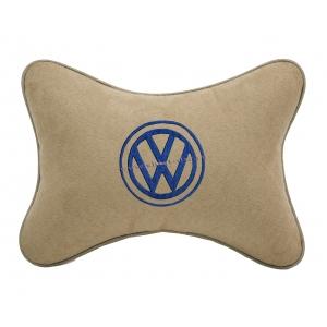 Подушка на подголовник алькантара Beige (синяя) VW
