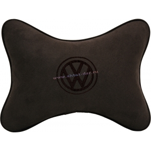 Подушка на подголовник алькантара Coffee (коричневая) VW