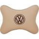Подушка на подголовник экокожа Beige (коричневая) VW