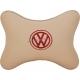 Подушка на подголовник экокожа Beige (красная) VW