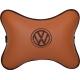 Подушка на подголовник экокожа Fox (коричневая) VW