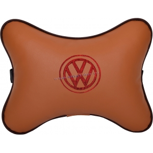 Подушка на подголовник экокожа Fox (красная) VW