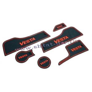 Комплект силиконовых ковриков в ниши Lada Vesta (6 шт.)