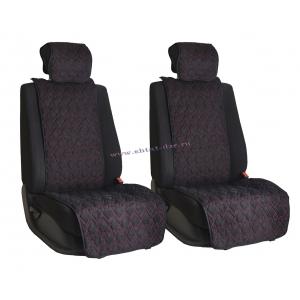 Комплект накидок на сиденья из алькантары Black с Red отстрочкой (пики)