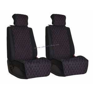 Комплект накидок на сиденья из алькантары Black с Red отстрочкой (ромб)