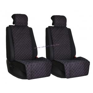 Комплект накидок на сиденья из алькантары Black с Red отстрочкой (квадрат)