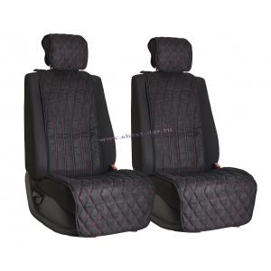Комплект накидок на сиденья из алькантары Black с Red отстрочкой (инфинити)