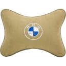 Подушка на подголовник алькантара Beige BMW