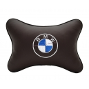 Подушка на подголовник экокожа Coffee BMW