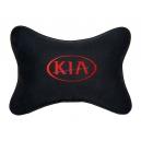 Подушка на подголовник алькантара Black (красная) KIA