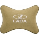 Подушка на подголовник алькантара Beige (белая) LADA