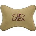 Подушка на подголовник алькантара Beige (коричневая) LADA