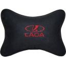 Подушка на подголовник алькантара Black (красная) LADA