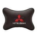 Подушка на подголовник экокожа Coffee MITSUBISHI