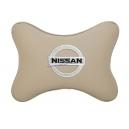 Подушка на подголовник экокожа Beige NISSAN
