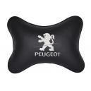 Подушка на подголовник экокожа Black (белая) PEUGEOT