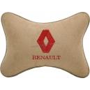 Подушка на подголовник алькантара Beige (красная) RENAULT