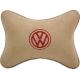Подушка на подголовник алькантара Beige (красная) VW