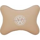 Подушка на подголовник экокожа Beige (белая) VW
