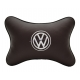 Подушка на подголовник экокожа Coffee (белая) VW