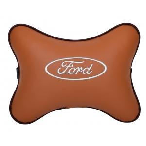 Подушка на подголовник экокожа Fox (белая) FORD